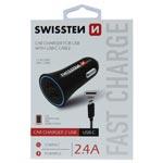 Swissten Billaddare /  2 x USB + USB-C Kabel