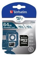Verbatim MicroSD Pro 64GB + SD adapter