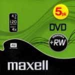 DVD+RW Inspelbar DVD Maxell 4,7GB CD-ask 5-pack