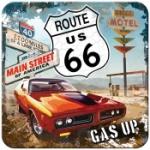 Glasunderlägg Retro / Route 66 Red car