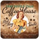 Glasunderlägg Retro / Coffee house lady