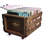 Skivback i trä för LP-skivor / Hjulförsedd