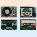 Bordstablett med retrotryck TV / Musik  4-pack