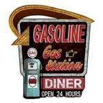 Plåtskylt Retro 65 x 60 cm / Gasoline diner
