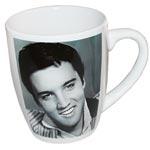 Mugg Elvis / Vit med svartvitt foto ansikte
