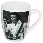 Mugg Elvis / Vit med svartvitt foto med gitarr