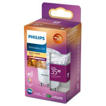 Philips: LED GU10 Spot 35W Dimbar WarmGlow 230lm