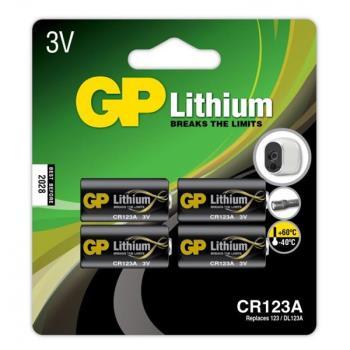 GP Lithium Battery CR123A, 3V, 4-pack