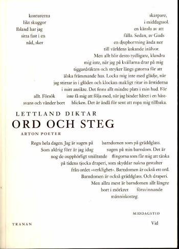 Lettland Diktar - Ord Och Steg - Arton Poeter