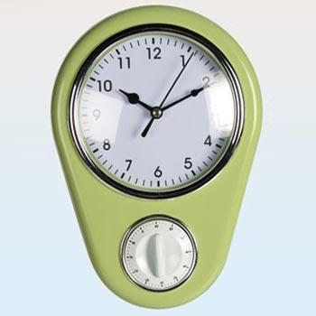 Väggklocka med timer / Grön