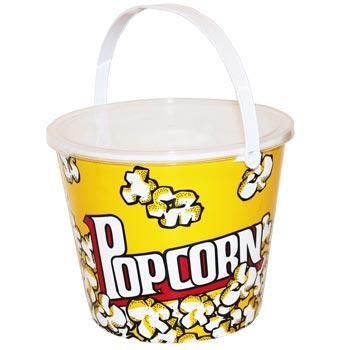 Popcornhink rund med lock, stor 18 cm hög