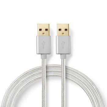 Nedis USB-kabel | USB 2.0 | USB-A Hane | USB-A Hane | 480 Mbps | Guldplaterad | 2.00 m | Rund | Flätad / Nylon | Aluminium | Kartong med täckt fönster