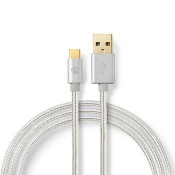 Nedis USB-kabel | USB 2.0 | USB-A Hane | USB Type-C- Hane | 480 Mbps | 10 W | Guldplaterad | 3.00 m | Rund | Flätad / Nylon | Aluminium | Kartong med täckt fönster