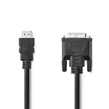 Nedis HDMI- kabel | HDMI- Kontakt | DVI-D 24+1-Pin Hane | 1080p | Nickelplaterad | 2.00 m | Rak | PVC | Svart | Plastpåse