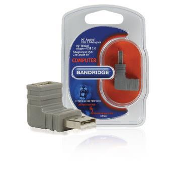 Bandridge USB 2.0 Adapter Vinklat 90° USB A hane - USB A hona Grå