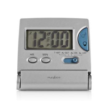Nedis Digital skrivbords alarmklocka   LCD-skärm bakgrundsbelysning   1.7 cm   Bakgrundsbelysning   Vikbar   Används för: Travel   Snooze-funktion   Ja   Silver