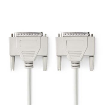 Nedis Serie Kabel | D-SUB 25-Pin Hane | D-SUB 25-Pin Hane | Nickelplaterad | 2.00 m | Rund | PVC | Elfenben | Plastpåse