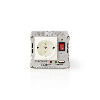 Nedis Växelriktare med modifierad sinusvåg | Inspänning: 24 VDC | Enhetens utgångsanslutning: 1 | 230 V ~ 50 Hz | 300 W | Toppeffekt: 600 W | Uttagstyp: F (CEE 7/3) / USB | Batteriklämmor + cigarettändare | Modifierad sinusvåg | Säkring | Silver