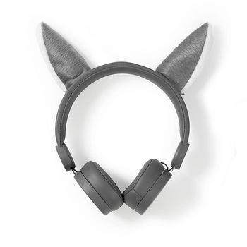 Nedis Trådanslutna hörlurar | 1.2 m Rund kabel | On-Ear | Avtagbara magnetiska öron | Willy Wolf | Grå